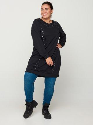 Čierne svetrové šaty Zizzi