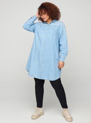 Svetlomodré košeľové šaty Zizzi
