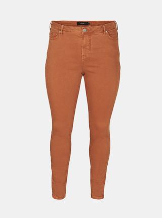 Hnědé skinny fit kalhoty Zizzi