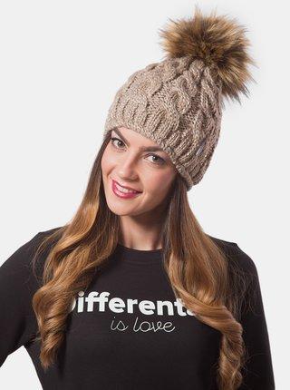 Differenta Design béžová dámska čiapka s brmbolcom