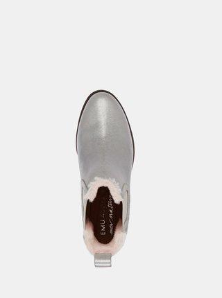 Emu Australia strieborné kožené topánky na podpätku Ellin Metallic Silver