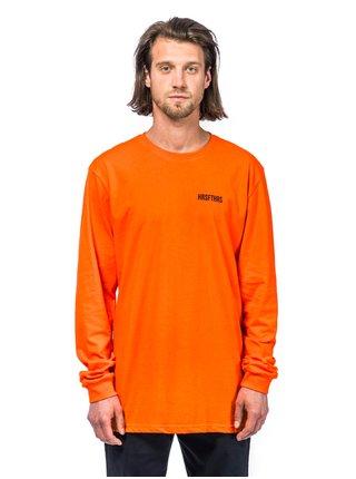 Horsefeathers ELVIN ATRIP flame pánské triko s dlouhým rukávem - oranžová