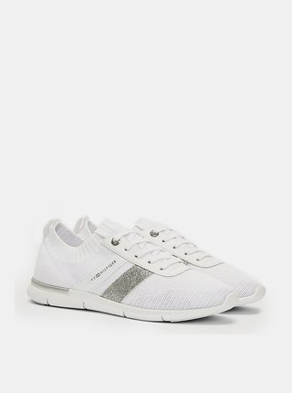 Tommy Hilfiger biele ponožkové tenisky Feminine Lightweight Sneaker White