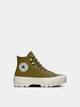 Converse khaki kožené tenisky na platforme Chuck Taylor All Star Lugged Winter
