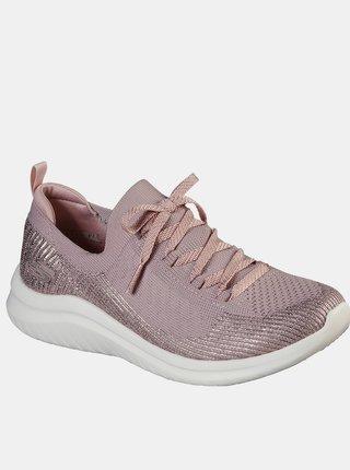 Skechers pudrově růžové tenisky Ultra Flex 2 s lurexovou nití