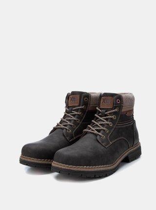 Tmavě hnědé pánské kotníkové boty Xti
