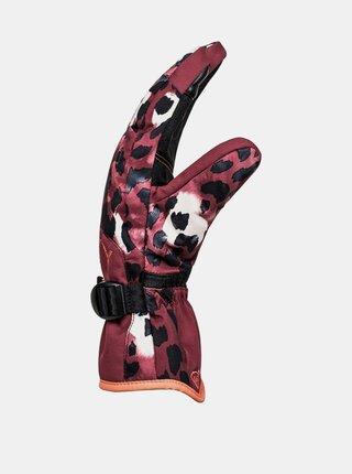 Roxy JETTY OXBLOOD RED LEOPOLD zimní prstové rukavice - červená