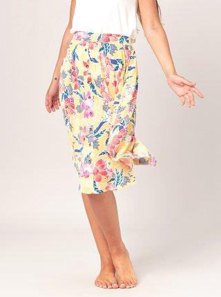 Žlutá květovaná sukně s kapsami Rip Curl
