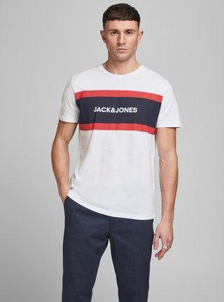 Bílé tričko s potiskem Jack & Jones Shake
