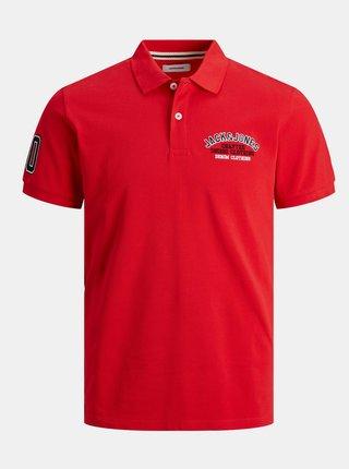 Červené polo tričko s výšivkou Jack & Jones Applica