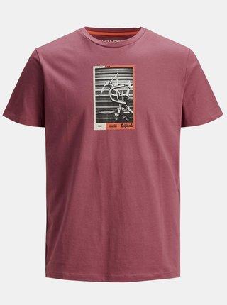 Ružové tričko s potlačou Jack & Jones Rall