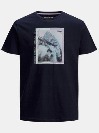 Tmavomodré tričko s potlačou Jack & Jones Rall