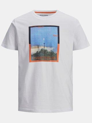 Biele tričko s potlačou Jack & Jones Rall