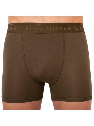 Pánské boxerky ELKA khaki s khaki gumou premium