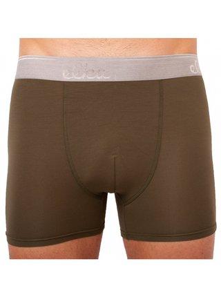 Pánské boxerky ELKA khaki se sv. šedou gumou premium