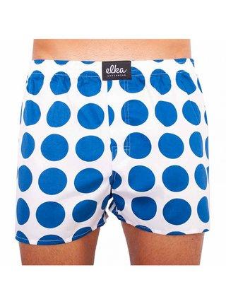Pánské trenky ELKA bílé s velkými modrými puntíky