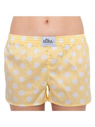 Dámské trenky ELKA žluté s bílými velkými puntíky