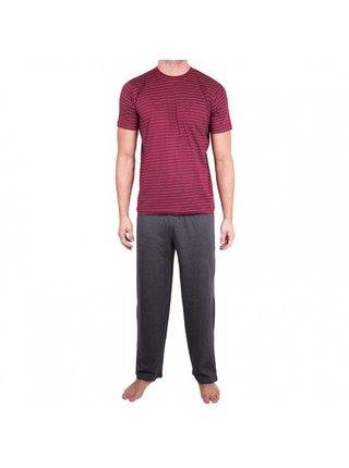 Pánské dlouhé pyžamo Molvy šedo červené proužky