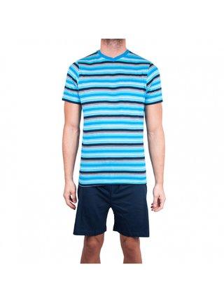 Pánské krátké pyžamo Molvy modré s pruhy
