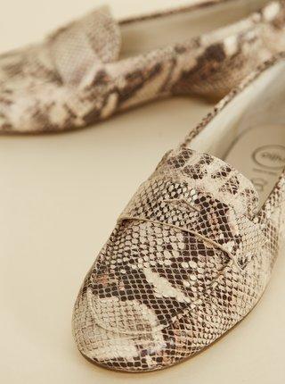 Béžové dámske kožené mokasíny s hadím vzorom OJJU