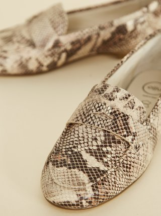Béžové dámské kožené mokasíny s hadím vzorem OJJU