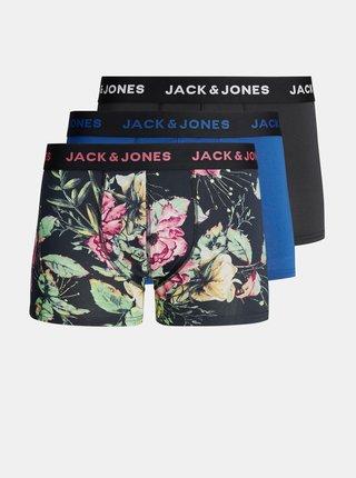 Sada tří boxerek v modré a černé barvě Jack & Jones Dark