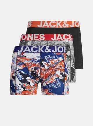 Sada tří vzorovaných boxerek v modré a černé barvě Jack & Jones Core