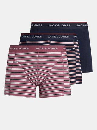 Sada troch pruhovaných boxeriek v modrej farbe Jack & Jones Trunk