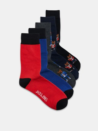 Sada piatich párov ponožiek v šedej a modrej farbe Jack & Jones Corg