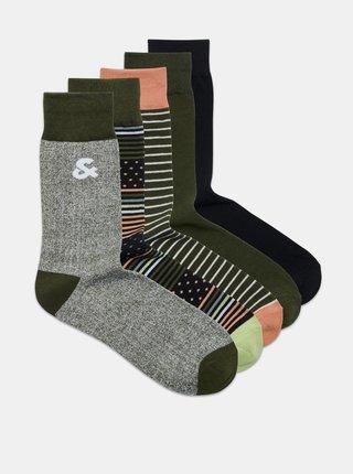 Sada piatich párov vzorovaných ponožiek v šedé a kaki farbe Jack & Jones