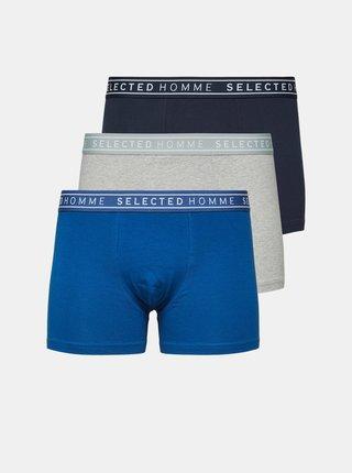 Sada troch boxeriek v šedej a modrej farbe Selected Homme Jay
