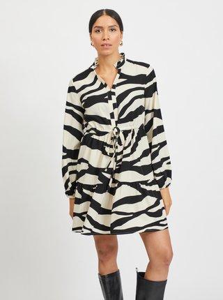 Čierno-krémové šaty so zebrím vzorom VILA Omina