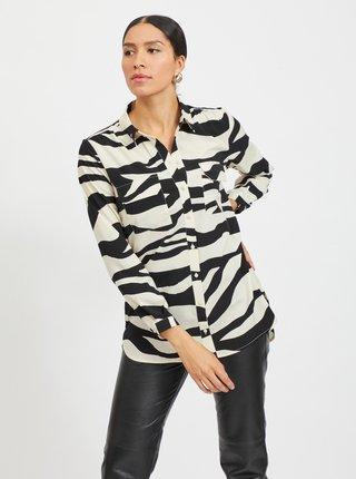 Černo-krémová košile se zebřím vzorem VILA Omina