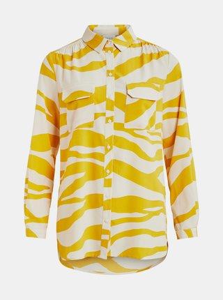 Krémovo-žltá košeľa so zebrím vzorom VILA Omina
