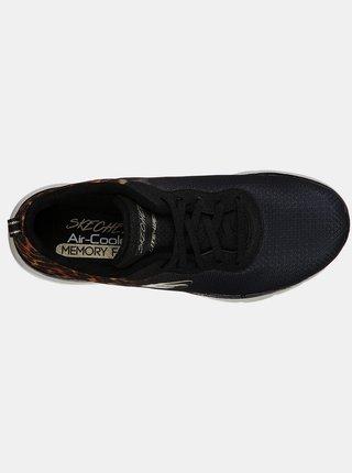 Skechers čierne tenisky Flex Appeal 3 s leopardím vzorom