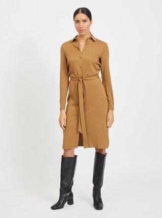 Hnedé košeľové šaty VILA