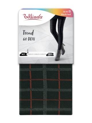 Punčochy TREND 60 DEN - Zimní punčochy se vzorem - černá - červená