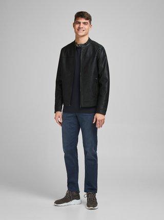 Černá koženková bunda Jack & Jones Warner