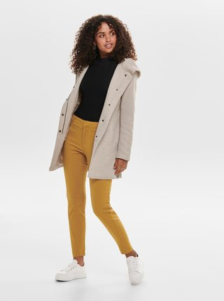 Béžový kabát s kapucí ONLY Sedona