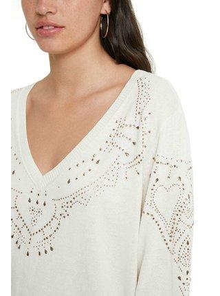 Desigual smotanové/krémové sveter Jers Gante