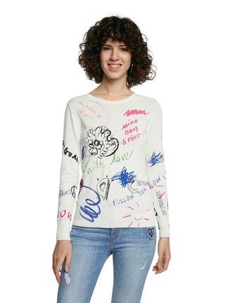 Desigual smotanové/krémové sveter Jers Neckar