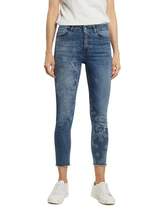 Desigual modré džínsy Denim Miami Super Print