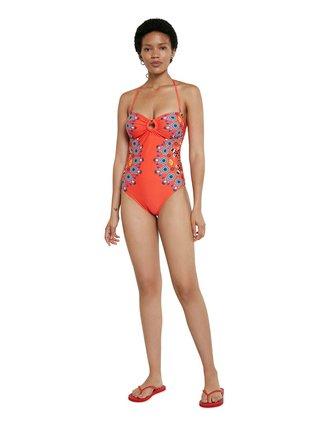 Desigual červené jednodílné plavky Biki Waikiki