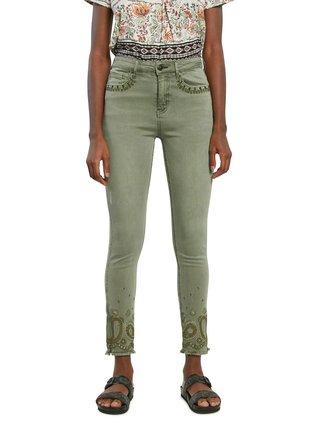 Desigual khaki kalhoty Pant Ankle Paisley