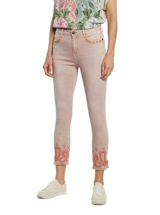 Desigual světle růžové kalhoty Pant Ankle Paisley