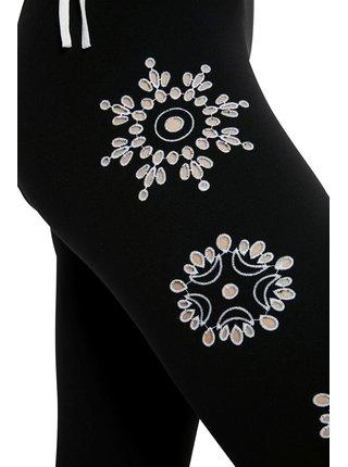 Desigual černé legíny Legging Mandala Swiss Embro