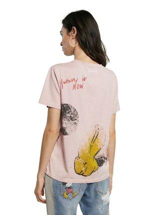 Desigual růžové tričko TS Ok Mickey