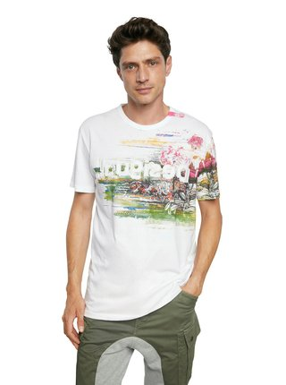 Desigual bílé pánské tričko TS Cameron