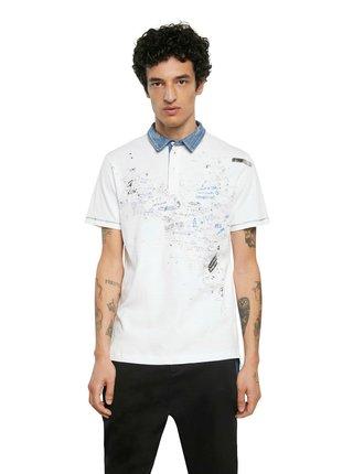 Desigual bílé pánské tričko Polo Miguel