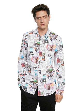 Desigual biele pánska košeľa Cam Abelardo